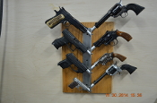 HANDGUN RACK (HOLDS 8 GUNS) With additional pins it will hold 15